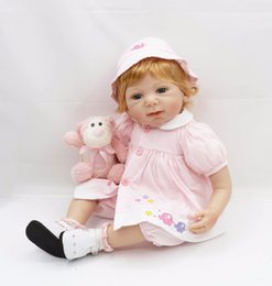 Wholesale Houses Inflatables - Wholesale- 55cm Silicone Reborn Baby Doll Toy 22inch Princess Toddler Girls Babies Dolls Birthday Gift Fashion Xmas Present Play House Toy