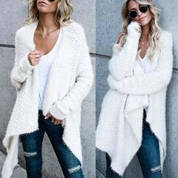 854c0090efc5 Frauen Langarm Strickjacke Lose Pullover Outwear Mantel Gestrickte Lange  Pullover Top Warm Schwarz Weiß Khaki