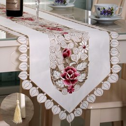 Wholesale Floral Table Runners - New Table Runner Embroidered Floral Table Cloth Pattern:#4 Flower Size:40X250cm