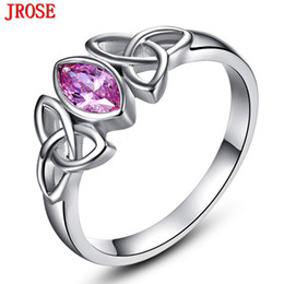 Wholesale Knot Ring Gold - Wholesale- Brand JROSE Engagement Marquise Cut Celtic Knot Design Pink CZ Jewelry White Gold Color Ring For Women Size 6 7 8 9 10