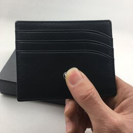 Wholesale Metal Card Cases - Classic Black Genuine Leather Credit Card Holder Wallet Top Quality Thin Bank ID Card Case Star MB Designer Coin Pocket Bag Small Purses