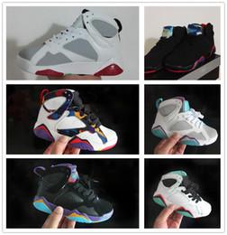 5d5bcea0446f9 nike air jordan aj7 Pas cher bébé enfants 7 chaussures de basket-ball  jeunesse garçon fille 7 s VII violet UNC Bordeaux olympique Panton N7  Zapatos ...