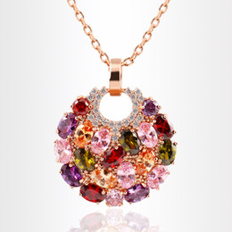 Wholesale colorful pearls necklace - Luxury Round Colorful Swarovski Amethyst Pendants Stainless Steel Jewelry Rhinestone Choker for Women Plated Gold Chain Designer Necklace