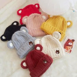 Wholesale Small Ears Cartoons - New Autumn and Winter Children's Thickened Woolen Hat Small Bear Ear Cartoon Hat for Boys and Girls