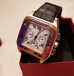 черные золотые часы Скидка Мужчины золотой корпус 100 Lx роскошные часы калибра механизм с автоподзаводом механический белый циферблат черный кожаный ремешок наручные часы на продажу FU86