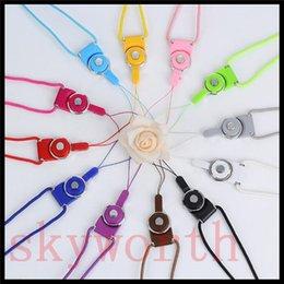 grossistes porte-badges en lanières en cristal Promotion Cordons de téléphone cellulaire 50CM tissés sangle de cou tissu détachable collier avec 12 couleurs pour téléphone portable mp3 mp4 caméra carte d'identité