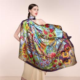 Wholesale Digital Printing Silk Scarves - 100% Silk Spring Floral Scarf Women, Infinity Square Shawl 135*135cm, Elegant Lady Soft Pure Silk Scarves, Digital Printed