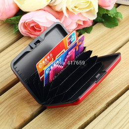 Wholesale Business Scan - 1 Pcs Waterproof Business ID Credit Card Holder Wallet Pocket Case Aluminum Metal Shiny Side Anti RFID scan Cover hot search