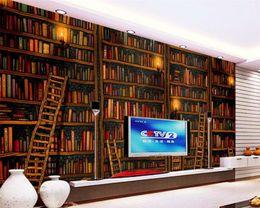 estantería de libros Rebajas Beibehang Papel tapiz personalizado Salón Dormitorio Mural Mural 3D Decorativo Papel tapiz 3d Libro Estantería Librería Fondo Pared