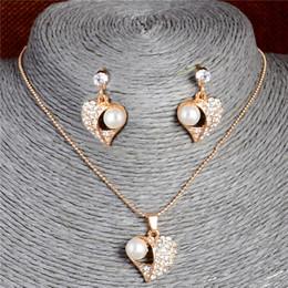 2019 perlenkette herzform Hochwertige Nachgemachte Perlen Schmuck Sets Für Frauen Herzform Österreich Kristall Strass Ohrringe Anhänger Halskette Schmuck günstig perlenkette herzform