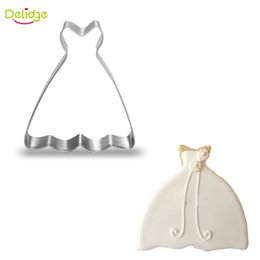 Wholesale Ring Cupcakes - Delidge 1 pc Women Dress Cookie Molds Stainless Steel Ballet Skirt Shape Cookie Cutter Cupcake Mousse Ring Decoration Molds