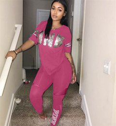 Wholesale Under Clothes - Pink Women T-shirt Lightweight O Neck Short Sleeve Tees Sports Love Pink T Shirt Gym Fintess Yoga Running Casual Clothes Under Crop Tops