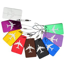 Wholesale Print Shipping Labels - Square Luggage Tag Prints Airplane Checked Boarding Accessories Stainless Steel Ring Mini Luggage Labels 7.5*4.4cm Drop Ship