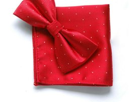 Cravate multicolore en Ligne-Business Chic Napperon Cravate Combinaison Set Echarpe De Poche Nœud Papillon Monochrome Cravate Pour Homme Polka Dot Uni