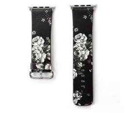 Orologio da polso online-hot new cinturino in pelle per Apple Watch 38mm 42mm per Iwatch Series 1 Series 2 Series 3 Flower Strap Floral Prints Bracciale da polso
