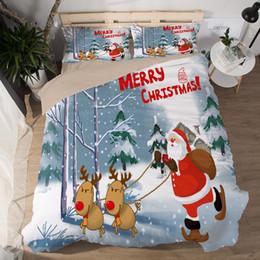 3D Bettwäsche-Sets König Polyester Bettbezüge Weihnachtsgeschenke Heimtextilien Weihnachtsmann Druck Cartoon Mix Muster Kissenbezug Weihnachten Hirsch von Fabrikanten