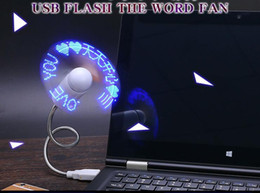 2019 cuadernos de palabras Mini USB LED Fan Word Display Intermitente Tiempo USB Fan para PC Notebook Power Bank Cargador con dispositivos USB 2018 cuadernos de palabras baratos