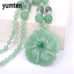 Yumten charme pingente de colar de aventurina das mulheres jade handmade esculpida jóias de moda contas de cristal cadeia de presentes collane donna de