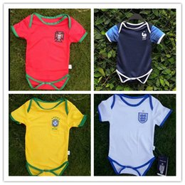 Wholesale Baby Boys Shorts - 2018 World Cup PortUgal kids Baby Jerseys 2018-19 fr pogba baby Spain Sleeves Brazil baby FR jersey shirt