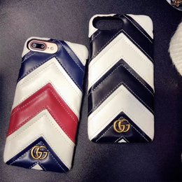 Wholesale Iphone Color Back Cover - Luxury brand Leather texture striped spell color phone case for iphone X 7 7plus 8 8plus hard back cover for iphone 6 6S 6plus