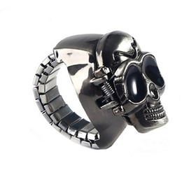 rang clock Promo Codes - Punk Unisex Vintage Fingure Ring Watch Men Hour Clock New Fashion Watch Skull Male Montre Homme