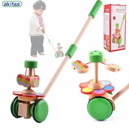 Wholesale Pole Car - New arrival Children's Cartoon pediatric toddler trolley toywooden single-pole push music early education toys gift