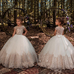Wholesale birthday dresses for babies - 2018 Princess Ball Gown Flower Girls Dresses For Weddings Crystal Sash Baby Girl Birthday Party Gowns Cheap Kids First Communion Dresses