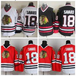 a841dbac0 Mens Chicago Blackhawks Denis Savard Hockey Jerseys Vintage CCM Classic  White Red #18 Denis Savard Stitched Jersey Mens M-XXXL black blackhawks  jersey ...