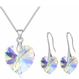 2019 conjunto de joyas con elementos de cristal de swarovski de corazón Cristal de corazón de Swarovski Elements Pendientes largos Collar Conjuntos de joyería Mujer Moda Novia Accesorios de boda 25494