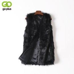 Wholesale Women Cotton Gilet - GOPLUS Women Brown Plus Size Faux Fur Vest Slim Long Faux fur Coat Women XXL Gilet Fourrure Rabbit Fur Femme Vest Long Coat