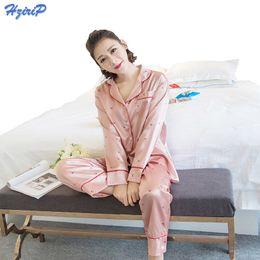 4612b8d533 wholesale 2017 New Women Nightwear Sexy Satin Faux Silk Pajamas Sets Long  Sleeve Tops+Pants 2Pcs Set Sleepwear Mujer Pyjamas Femme
