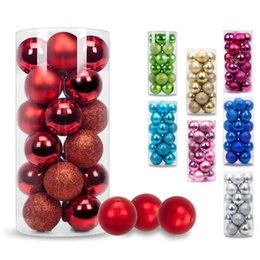 ball candle colorful Promo Codes - Christmas Ball Ornaments Exquisite Colorful Balls Decorations Pendant Pack of 24pcs 40mm