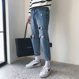 Wholesale Men Wind Pants Blue - 2018 Spring And Autumn New Men's Harbor Wind Original Knee Hole Jeans Boys Trendy Fashion Models Teen Popular Slim Pants