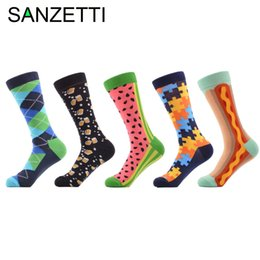 5516236dfa36 SANZETTI 5 pairs lot Men's Novelty Funny Socks Combed Cotton Crew Socks for  Man Puzzle Beer watermelon Casual for Gift on sale