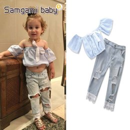 Wholesale New Fashion Jeans Kids - Ins new Summer Fashion Girls Outfits kids clothing Boutique baby girl clothes Kids Suit Children Set Tops+lace Jeans trousers A1699