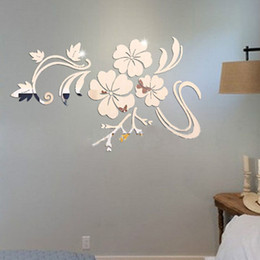 Wholesale Silver Vine - 3D Flowers Vine Pattern Mirror Acrylic Wall Stickers Home Decoration DIY Gold Silver Living Room Wall Sticker Decor T35