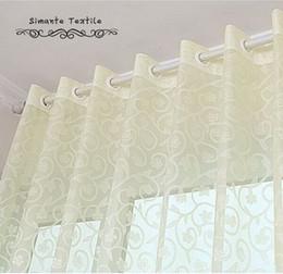 Тканевые панели онлайн-Деревенский жаккард вуаль sheer шторы тюль ткани для украшения дома спальня прозрачный тюль панели