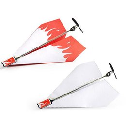 Wholesale model plane motors - DIY Motor Powered White Paper Airplane Model Folding Paper Power Toy Diecast Airplane Model Toy Vehicle air Plane Aircraft
