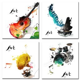 Wholesale Drum Music Instruments - 4 Pieces Canvas Painting Guitar Piano phonograph and Drum Set Four Kinds of Classical Music Instruments Print Home Decor Wooden Framed Gifts