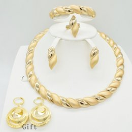 earring nigeria Promo Codes - 2018 Fashion jewelry set African Nigeria Dubai gold-color African bead jewelry wedding set women beads sets