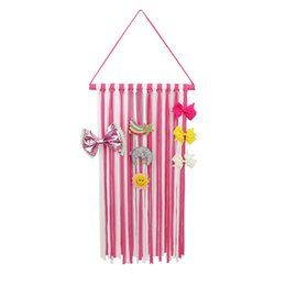 Wholesale Cotton Hangers - Fashion Striped Ribbons Hanger Hairbow Holder Hair Bow Clips Storage Girls Hairpins Barretes Holder for Hair Accessories