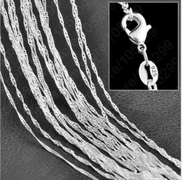 """Wholesale fine wave - 10PC Fine Jewelry Findings 16""""-30"""" Necklace Chains Silver Plated 1.0MM Wave Chain+Lobeter Clasp Jewellery Sets For Pendant"""