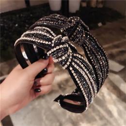 cadono accessori per i capelli neri Sconti Fascia per capelli alla moda in stile bohemien Fascia per capelli in strass brillanti per la moda