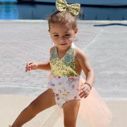 Wholesale White Sequin Dress Baby Girl - 2018 Newborn toddlers summer climb romper dress european style infant baby girl sparkly sequins suspender jumpsuit
