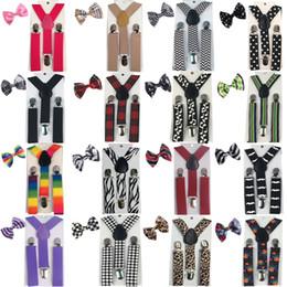 2019 corbata de lazo pajarita 5 Conjuntos Al Por Mayor Niños Niñas Tirantes Bowtie Bow Tie Colores a juego Y-Back Ajustable Elástico Braces de la boda YHHtr0017 corbata de lazo pajarita baratos