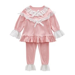 Princess Pajamas Sets for Girls Clothes Hot Top Spring   Autumn Kids Long  Sleeve Lace Sleepwear Children Night Outfits Vestidos e9f9d7379