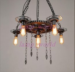 Wholesale Decorative Iron Works - Loft style retro industrial machinery gears personalized restaurant bar cafe decorative wrought iron pendant lamp EMS FREE SHIPPING