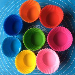 2019 gemme di cioccolato 7cm Bakeware Forma rotonda Silicone Muffin Cup Stampo Bakeware Maker Mold Tray Cottura Cup Liner Stampi per dolci B