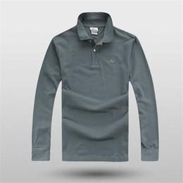 Мужские рубашки с длинным рукавом онлайн-Бренд Дизайнер Рубашки Поло Мужские Рубашки Поло С Длинным Рукавом Осень Бренд Рубашки Мужчины Дизайнерские Топы Вышивка Мужская Одежда Размер M-4XL