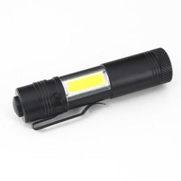 Wholesale diving led lights - New Mini Portable Aluminum Q5 LED Flashlight XPE&COB Work Light lanterna Powerful Pen Torch Lamp 4 Modes